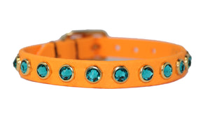 "1/2"" Orange Waterproof collar with teal Swarovski crystals"