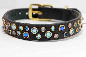 Blue Swarovski Crystal Dog Collar