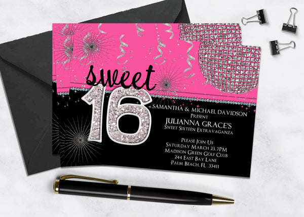 Hot Pink and Black Sweet Sixteen Birthday Invitation - 3peasprints