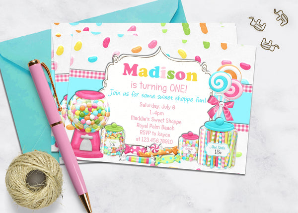 Gumballs and Candy Birthday Invitation - 3peasprints