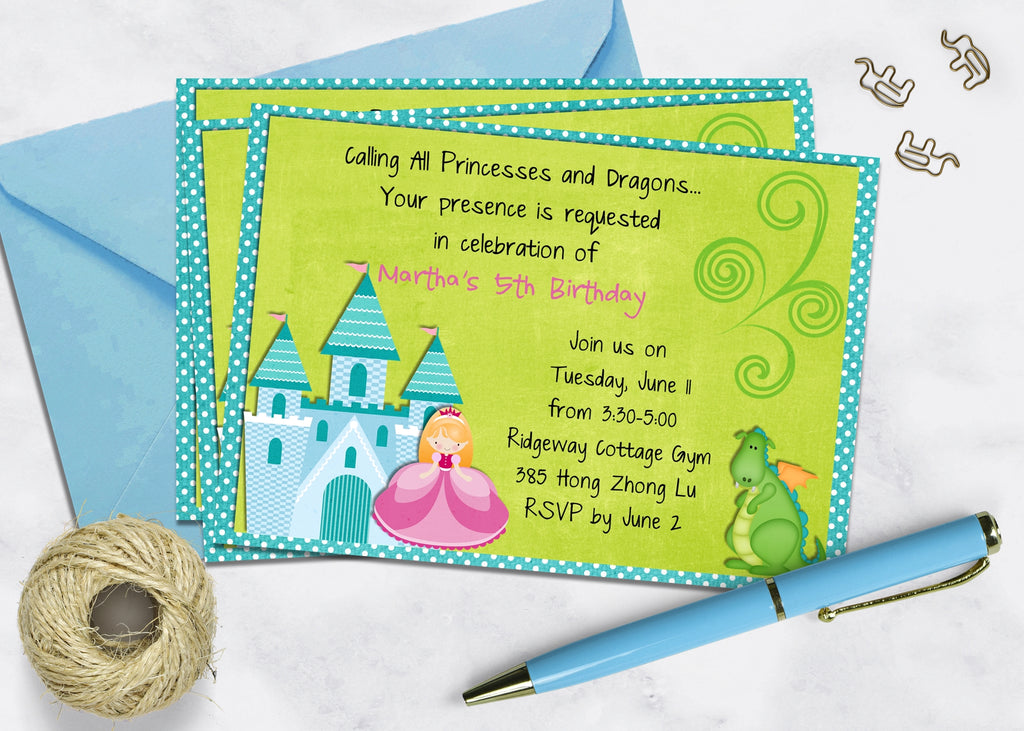 Princess and Dragon Birthday Invitation for a Boy and a Girl - 3peasprints