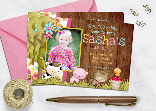 Animal Party Birthday Invitation - 3peasprints