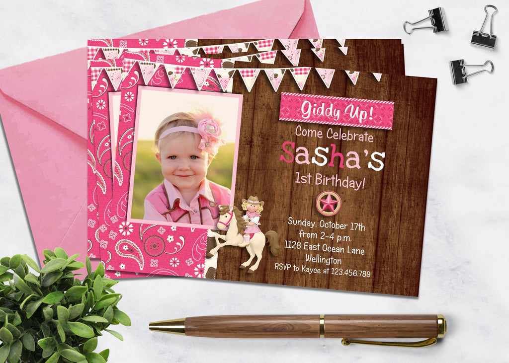 Rustic Pink Cowgirl Birthday Invitation - 3peasprints