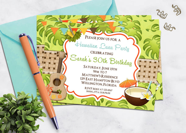 Tropical Luau Party Adult Birthday Invitation - 3peasprints