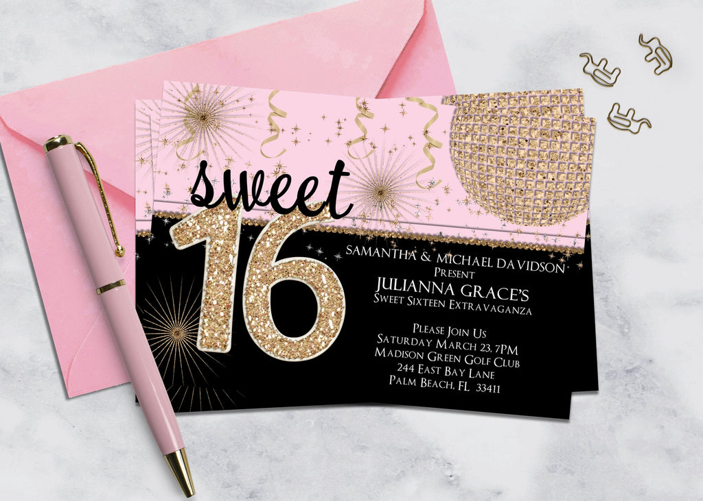 Pink and Black Sweet Sixteen Birthday Invitation - 3peasprints