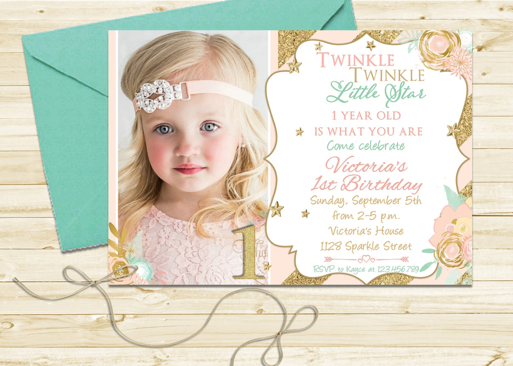 Twinkle Twinkle Little Star 1st Birthday Invitation - 3peasprints
