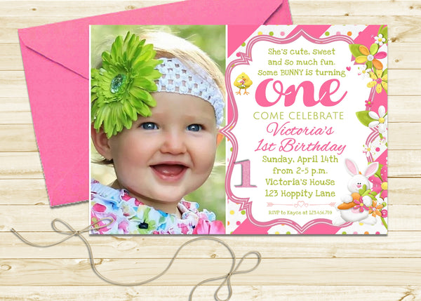 Easter Bunny Rabbit Girl Birthday Invitation