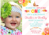 Wild One Girl 1st Birthday Invitation - 3peasprints