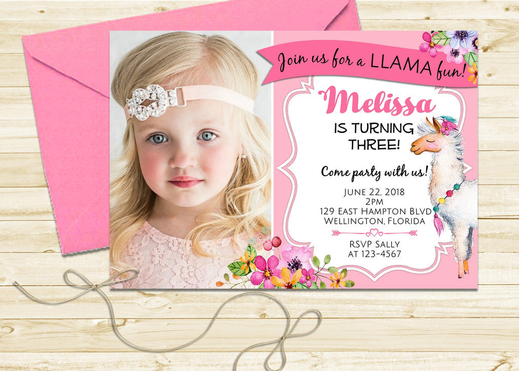 Pink Llama Birthday Invitation - 3peasprints