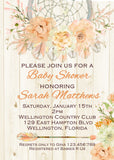 Peach Floral Dreamcatcher Baby Shower Invitation
