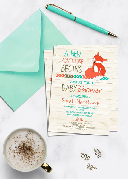 Adventure Begins Baby Shower Invitation - 3peasprints