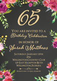 Floral 65th Birthday Invitation - 3peasprints