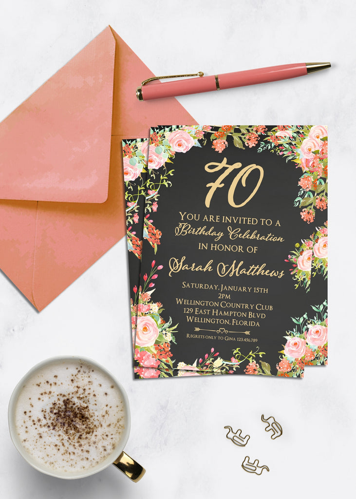 Peach Floral 70th Birthday Invitation - 3peasprints