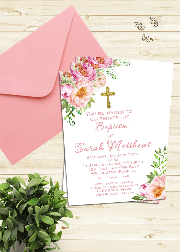 Baby Girl Pink Floral Baptism Invitation - 3peasprints