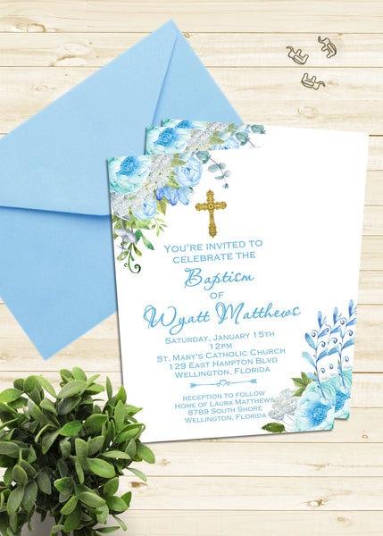 Baby Boy Blue Floral Baptism Invitation - 3peasprints