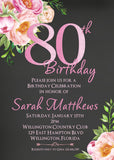 Sweet Pink Floral 80th Birthday Invitation - 3peasprints