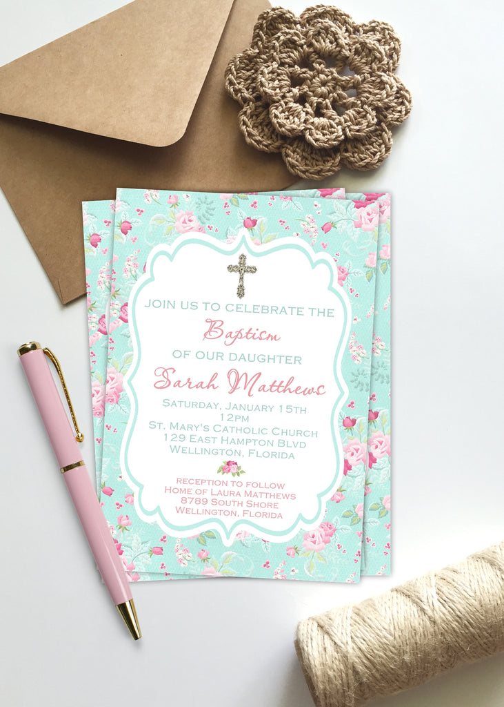Shabby Pink and Blue Floral Baptism Invitation - 3peasprints