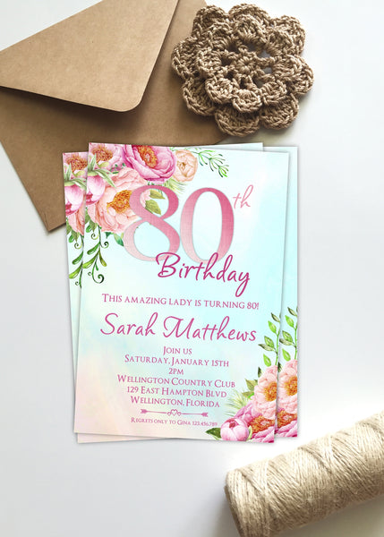 Morning Sky Floral 80th Birthday Invitation - 3peasprints
