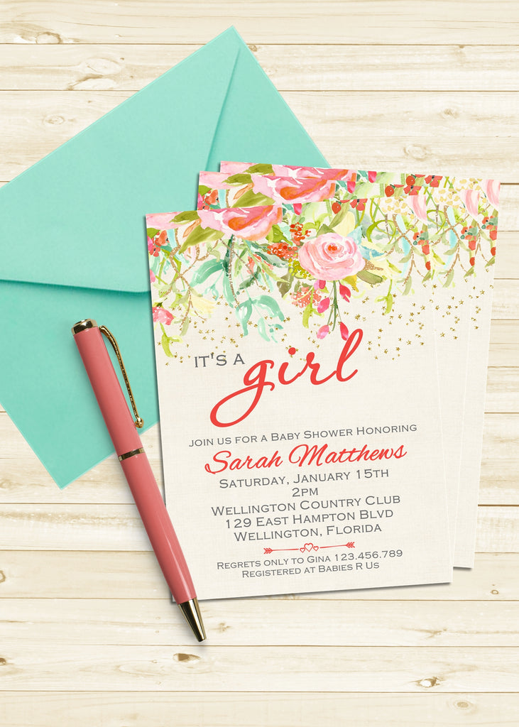 Coral and Gold Glitter Floral It's a Girl Baby Shower Invitation - 3peasprints