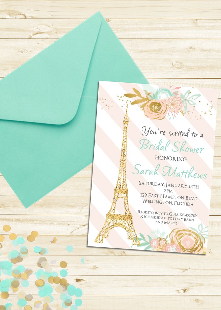 Eiffel Tower Bridal Shower Invitation - 3peasprints