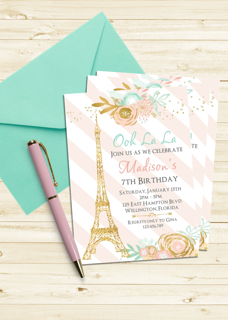Paris Eiffel Tower Birthday Invitation - 3peasprints
