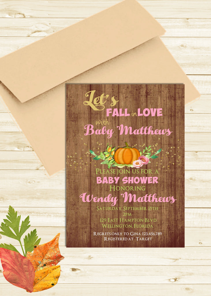 Let's Fall in Love Baby Shower Invitation