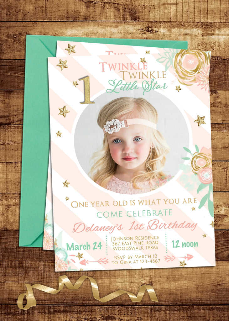 Mint and Pink Twinkle Twinkle Little Star Birthday Invitation - 3peasprints