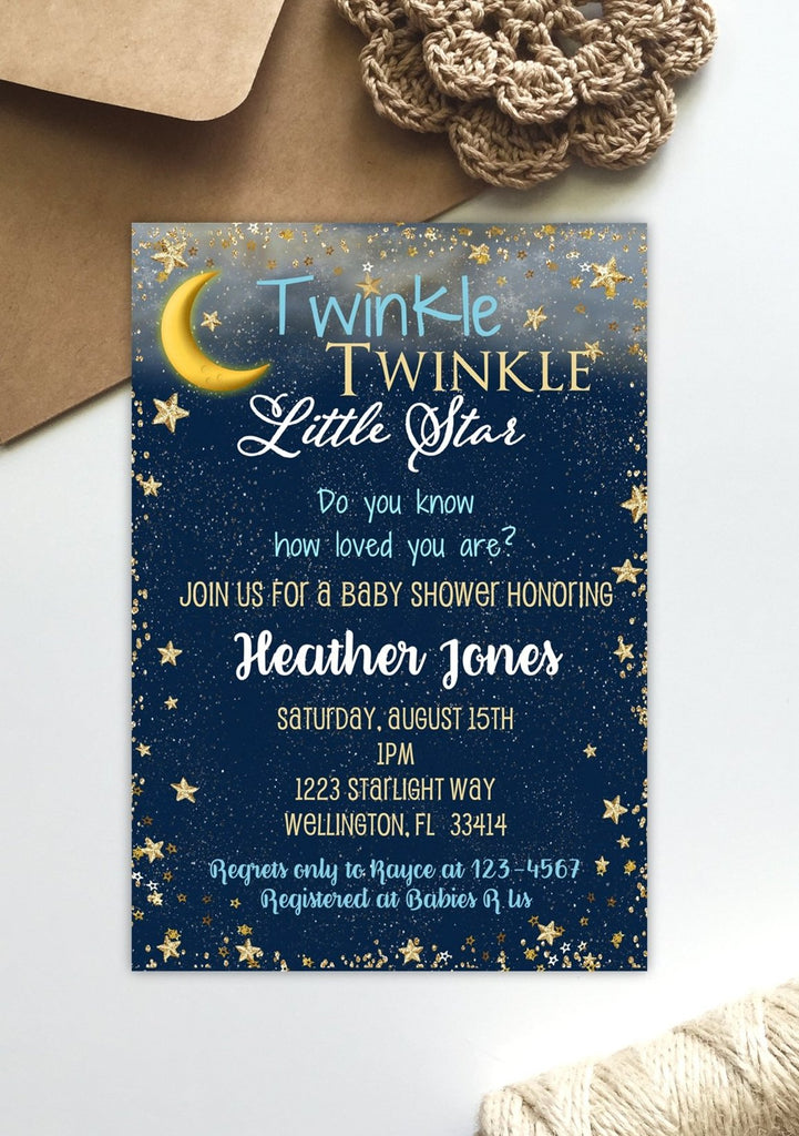 Starry Night Twinkle Baby Shower Invitation - 3peasprints