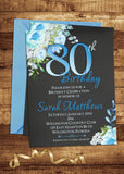 Blue Floral 80th Birthday Invitation - 3peasprints