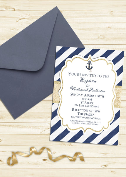 Nautical Navy and Gold Baptism Shower Invitation - 3peasprints