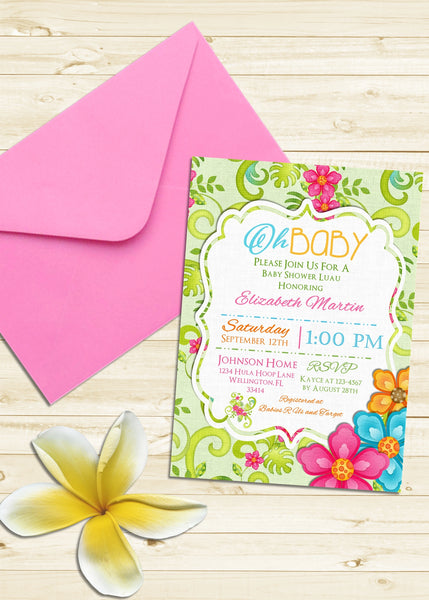 Aloha Tropical 'Oh Baby' Shower Invitation - 3peasprints