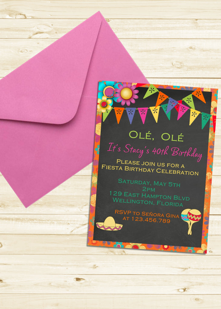 Mexican Fiesta Birthday Invitation - 3peasprints
