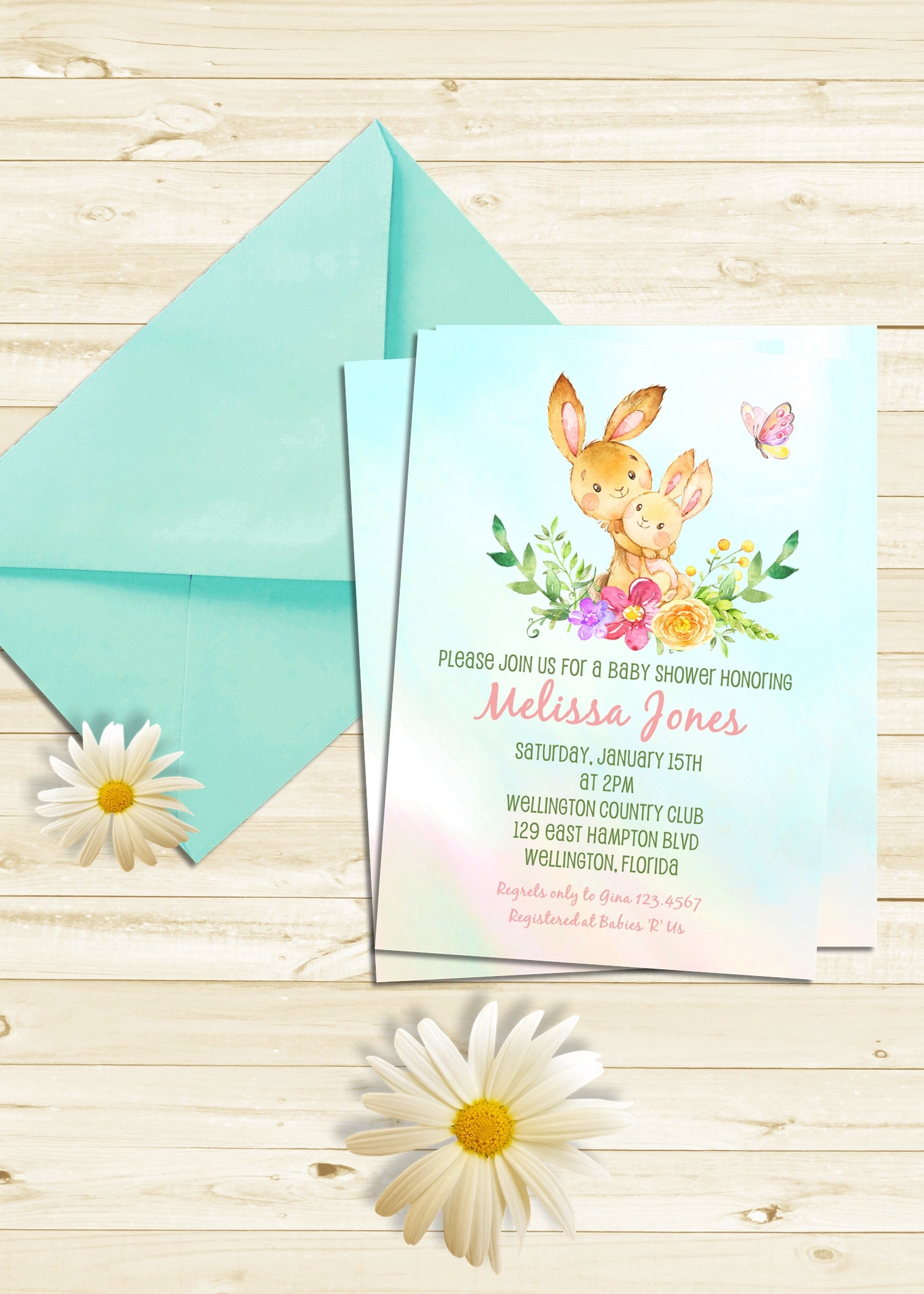 Little Bunny Baby Shower Invitation 3peasprints
