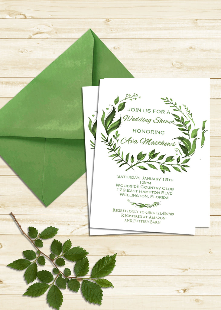 Tropical Green Leaves Wedding Shower Invitation - 3peasprints