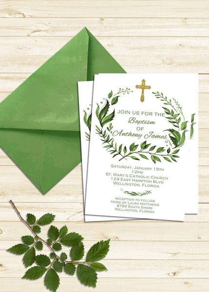 Tropical Green Leaves Baptism Invitation - 3peasprints