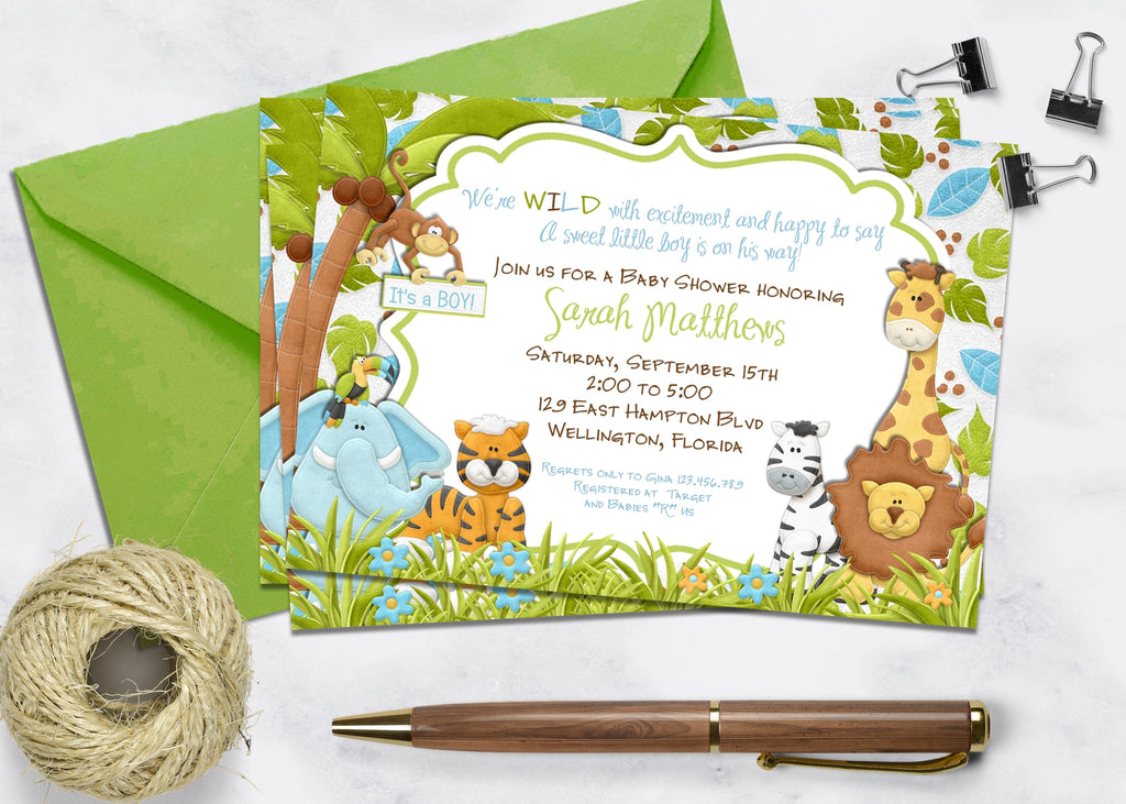 Wild Animals in the Jungle Baby Shower Invitation - 3peasprints