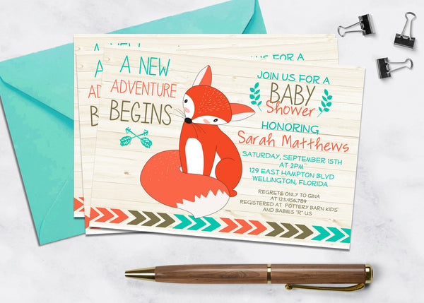 Adventure Fox Baby Shower Invitation - 3peasprints