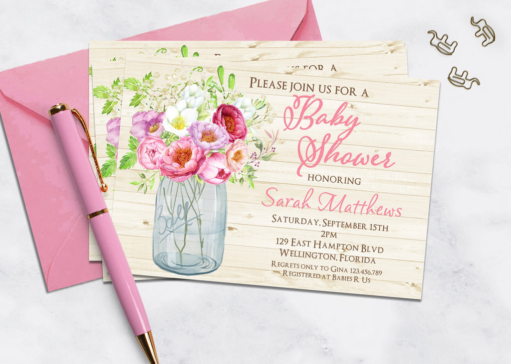Rose Mason Jar Baby Shower Invitation - 3peasprints
