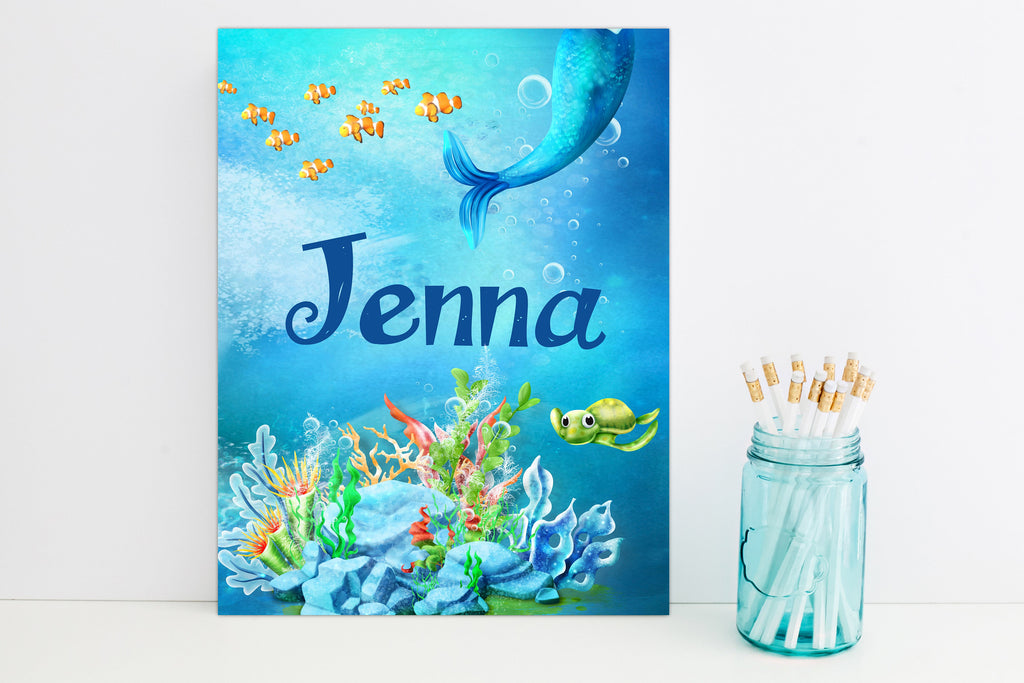 Mermaid Tail Under the Sea Personalized Folder - 3peasprints