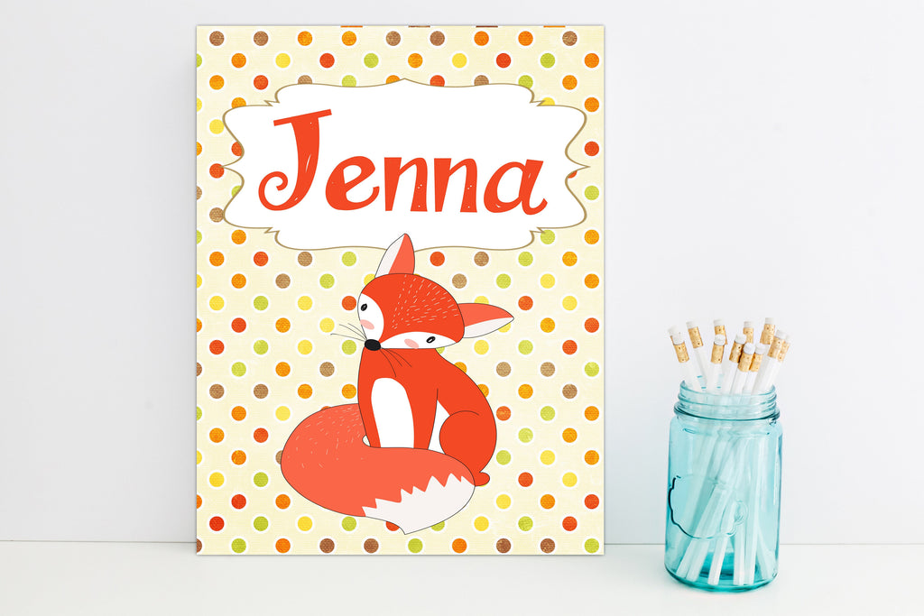 Cute Red Fox Personalized Folder - 3peasprints