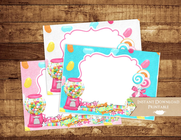 Candy Shoppe Printable Food Card Labels - 3peasprints