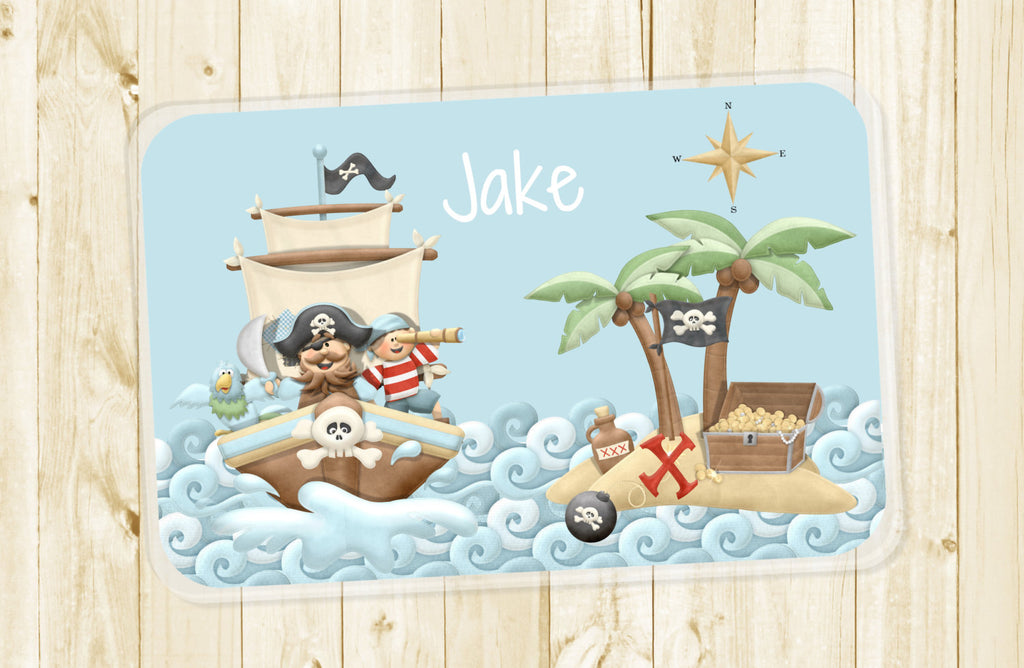 Pirate Ship Kids Personalized Placemat - 3peasprints