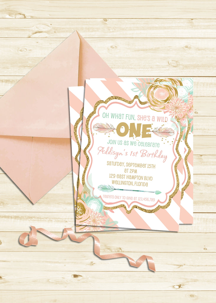 Pink and Gold Wild ONE Birthday Invitation - 3peasprints