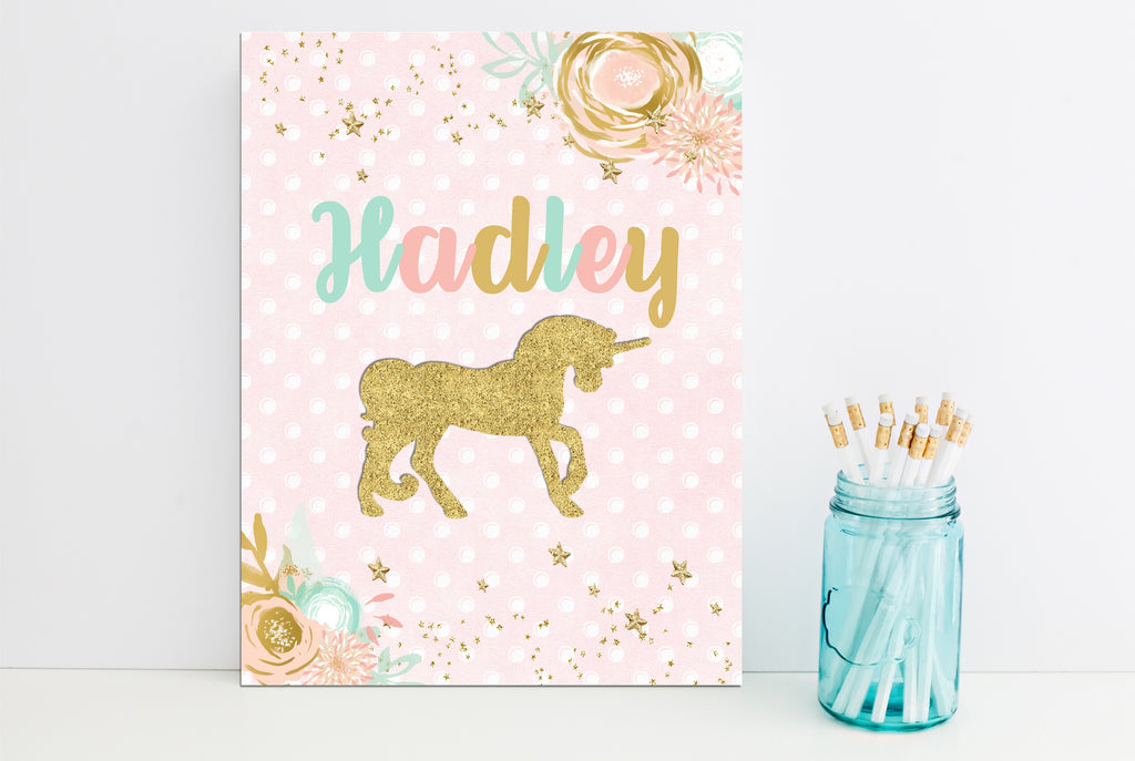 Gold Unicorn Personalized Folder - 3peasprints