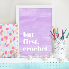 Bella Coco But First Crochet Print - Lilac - Bella Coco Store