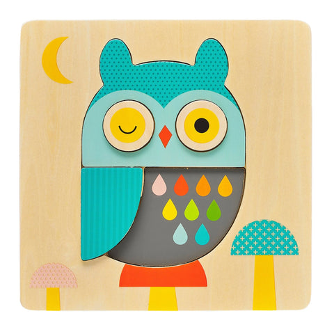 Owl chunky wood tray puzzle