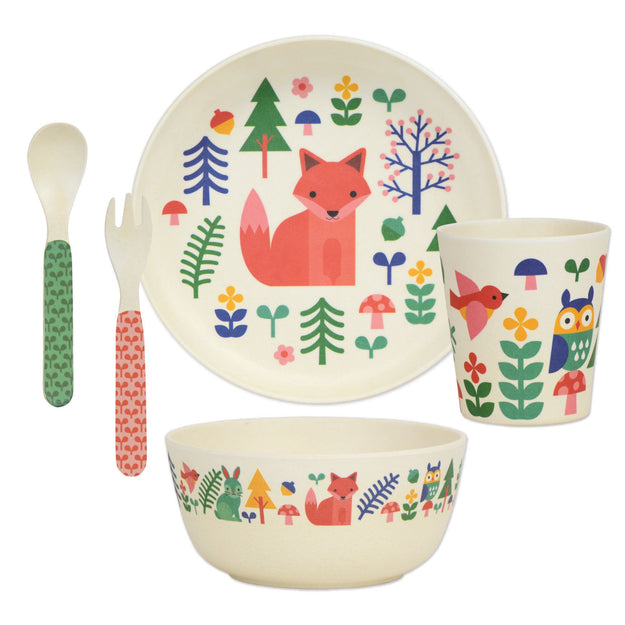 petit collage bamboo 5pc mealtime dinnerware set  sc 1 st  Petit Collage & Forest Animals 5-piece Eco-Friendly Bamboo Dinnerware Set \u2013 Petit ...