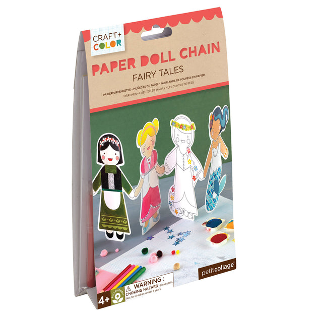 petit collage craft color fairy tales paper doll chain package