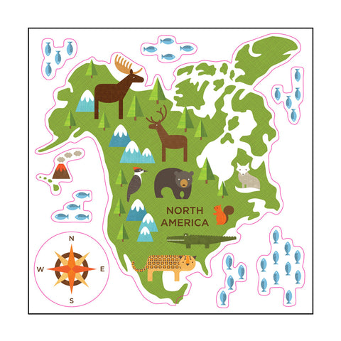 world map wall stickers for kids