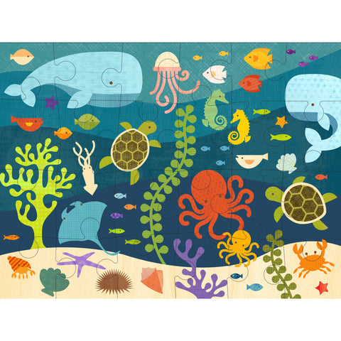 petit collage ocean life floor puzzle 24 pcs detail